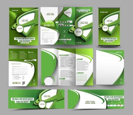 Illustration pour Modèle d'ensemble de papeterie d'affaires Tennis Club . - image libre de droit