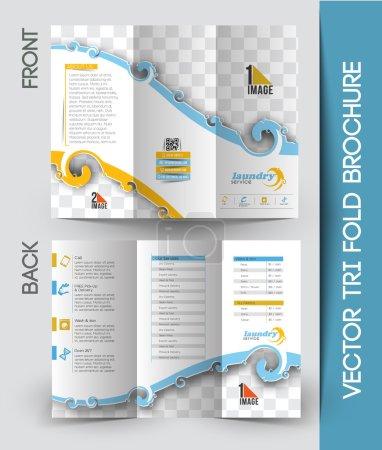 Illustration for Laundry Service Tri-Fold Mock up & Brochure Design - Royalty Free Image