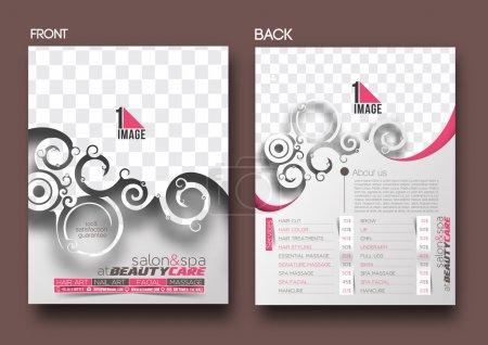 Illustration pour Beauty Care & Salon Modèle de flyer avant et arrière - image libre de droit