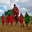 Постер, плакат: MASAI MARA KENYA August 13: Masai warriors dancing traditiona