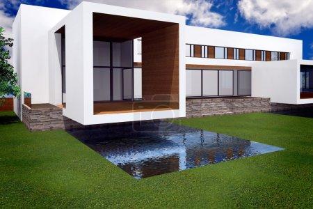 Foto de Representación 3D de mansión moderna con piscina - Imagen libre de derechos