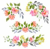 Sada akvarel květinové kompozice