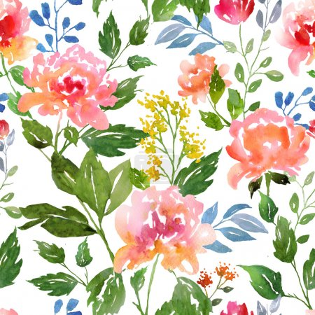Photo for Watecolor floral pattern and seamless background. Work path included.  Ideal for printing onto fabric and paper or scrap booking. Hand painted. Raster illustration. - Royalty Free Image