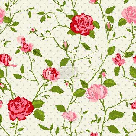 Illustration pour Shabby chic roses en jacquard et fond transparent. idéal pour l'impression sur tissu et papier ou rebuts de réservation. chic style cottage. - image libre de droit