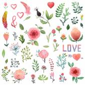 Set of cute watercolor hand-drawn nature clip-art isolated Wedding birthday celebration card elements