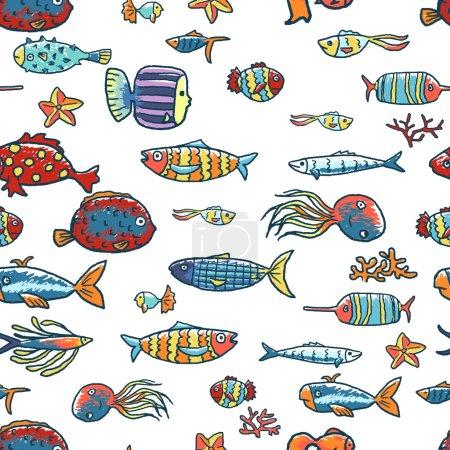 Illustration pour Poissons tropicaux motif sans couture. Vie marine - image libre de droit
