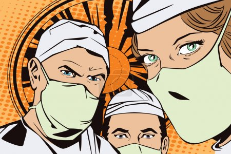 Illustration for People in retro style pop art and vintage advertising. The doctors in the operating room - Royalty Free Image