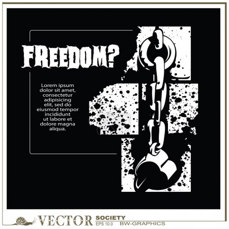 vector bw-graphics - Broken the shackles. Freedom?