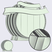 vector wine wooden barrel with ribbon and place for your text