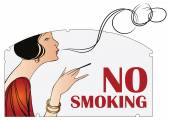 Vector illustration. Prohibition of smoking. Woman with a cigare