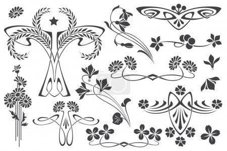 Vector set flower vignette  on different versions