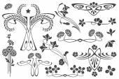 Vector set flower vignette  on different versions