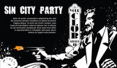 Vector BW Illustration Template flyers Sin City party A man with a gun
