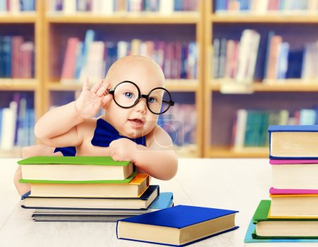 Baby in Glasses Read Books, Smart Kid Early Development Education