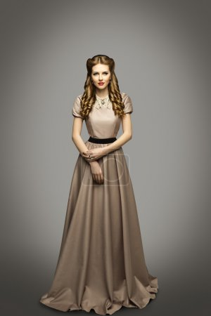 Woman Long Dress, Fashion Model in Historical Gown, Gray