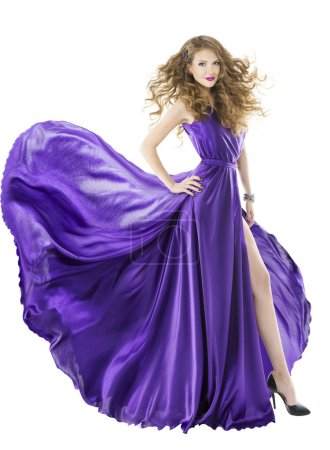 Woman silk dress, long fluttering train, girl purple fabric clothes with long hairs, isolated over white background