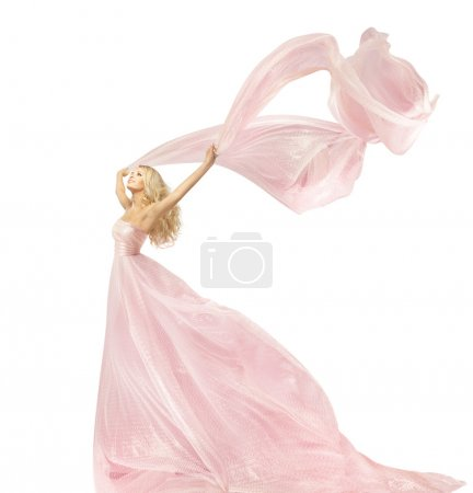 Woman Beauty Fashion Dress, Girl In Silk Gown Waving On Wind Fabric, Model With Long Flying Fluttering Cloth, Isolated Over White Background