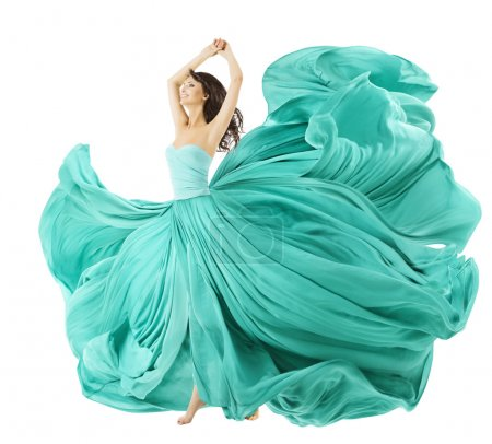 Woman Dancing In Fashion Dress, Fabric Cloth Waving On Wind, Flying Girl In Fluttering Gown And Flowing In Motion. Isolated Over White Background