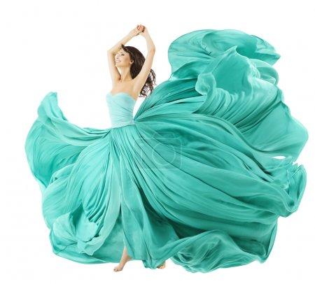 Foto de Mujer bailando en vestido de moda, tela ondeando en el viento, volando chica en vestido revoloteando y fluyendo en movimiento. aislado sobre fondo blanco - Imagen libre de derechos