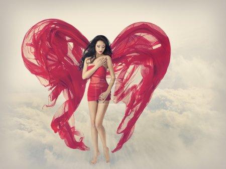 Woman Angel Wings, Heart Fabric Cloth, Fashion Red Dress