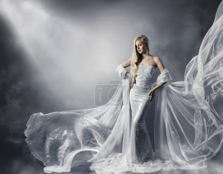 Young Woman in Fashion Shiny Dress, Lady in Flying Clothes, Girl under Star Light, Shiny Cloth Fluttering and Flowing