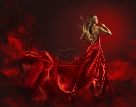 Woman in Red Dress, Lady Fantasy Gown Flying and Waving, Hair Blowing on Wind, Naked Back Portrait of Beautiful Girl in Long Cloth