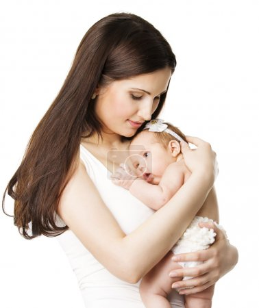 Mother Newborn Baby Family Portrait, Mom Embracing New Born Kid, Parent and Child