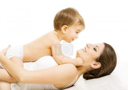 Mother Baby Love, Happy Mom with Kid Boy. Child and Family