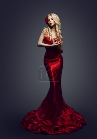 Photo for Fashion Model Red Dress, Stylish Woman in Elegant Beauty Gown, Girl Posing Slinky Evening Clothes in Studio - Royalty Free Image