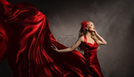 Model in Red Dress, Glamour Woman Posing in Flying Long Silk Cloth