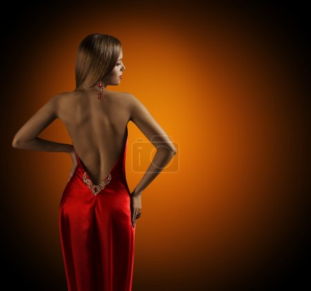 Woman Naked Back, Womanly Fashion Model Posing Sexy Red Dress, Rear View