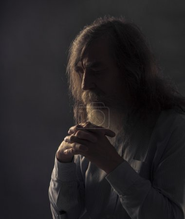 Senior Prayer, Old Man Praying with Folded Hands in Dark