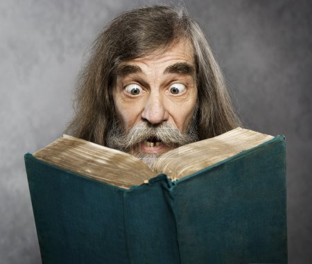 Photo for Senior Old Man Read Book, Amazing Face Crazy Shocked Eyes, Confused Surprised People - Royalty Free Image