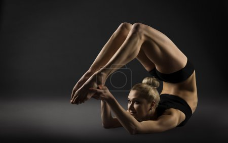 Back Bend Stretching Posture, Bending Woman Acrobat Gymnastics, Sporty Girl