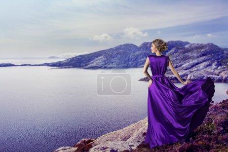 Woman in Purple Dress, Mountains Sea, Girl Waiting on Coast, Waving Gown