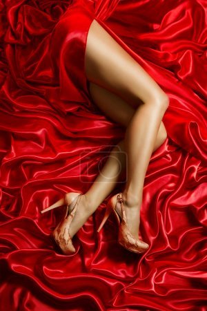 Legs Shoes High Heels on Red Cloth, Sexy Woman Silk Fabric, Girl Sensual Dress
