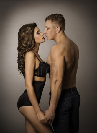 Couple Kissing, Sexy Woman and Man Portrait, Sensual Girl and Boy