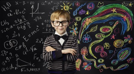 Photo for Kid Creativity Education Concept, Child Learning Art Mathematics Formula, School Boy Idea, Black Chalk Board - Royalty Free Image