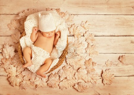 Baby Sleeping on Autumn Wood, New Born Kid Asleep Leaves, Newborn one month