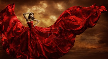 Woman Red Dress Flying Silk Fabric, Fashion Model Dance in Storm