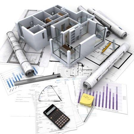 Photo pour Immeuble de bureaux avec intérieur ouvert sur les plans, les documents et les calculs hypothécaires - image libre de droit