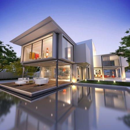 Photo pour Vue extérieure d'une maison contemporaine avec piscine au crépuscule - image libre de droit
