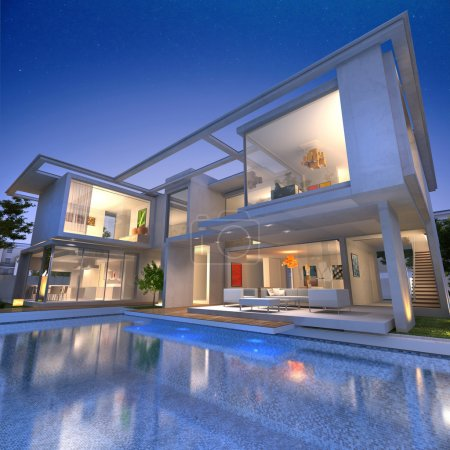 Photo for External view of a contemporary house with pool at dusk - Royalty Free Image