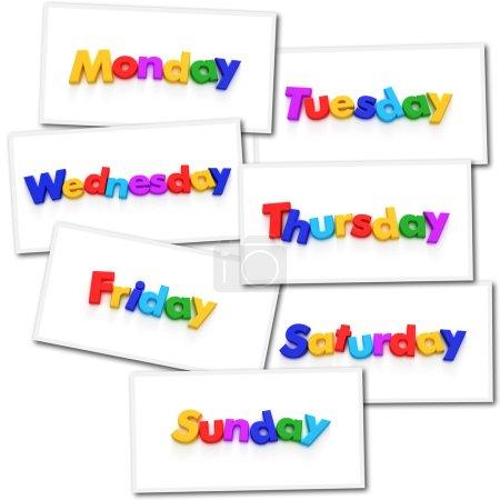 Photo pour Collage de rendus avec les jours de la semaine dans des aimants colorés - image libre de droit