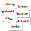 Collage of renderings with the days of the week in...