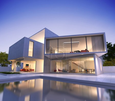 Photo for External view of a modern house with pool at dusk - Royalty Free Image