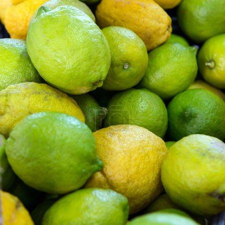 Green lemons in the market