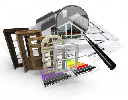 Photo for Home construction concept with energy efficiency chart and a selection of doors and windows - Royalty Free Image