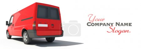 Rear view of red van