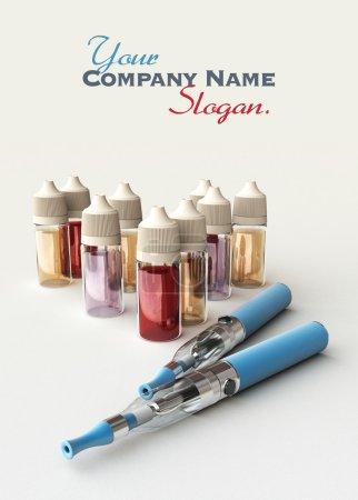 Photo pour Une paire de cigarettes électroniques avec beaucoup de bouteilles de recharge différentes - image libre de droit